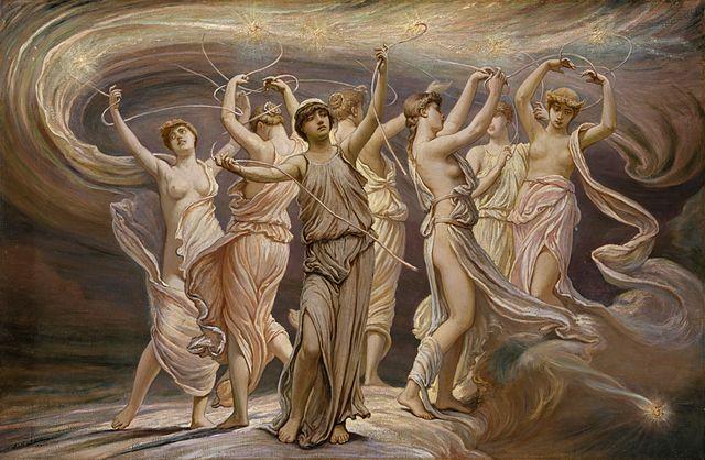 las siete hijas de Pleione, esposa de Atlas, abuela del dios Hermes (el hijo de Zeus)